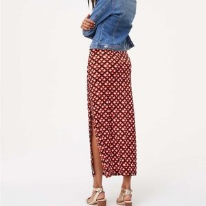 LOFT NWOT Printed Stretch Midi Skirt + Side Slit S